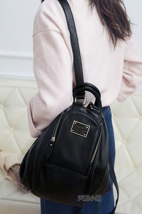 Two-Way Transformation Zip Bag - Black - Backpacks - Accessories