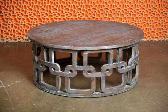 Hamptons Round Coffee Table With Grey And White Wash
