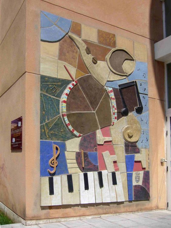 Mural cer mico con tem tica de instrumentos musicales - Murales de ceramica artistica ...