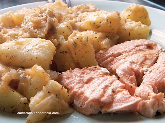 Salmone con patate all'aneto - Calderone in Kenderasia   Calderone in Kenderasia