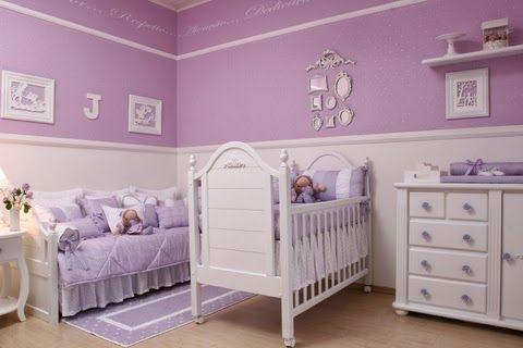 Dormitorios de beb�s en blanco y lila