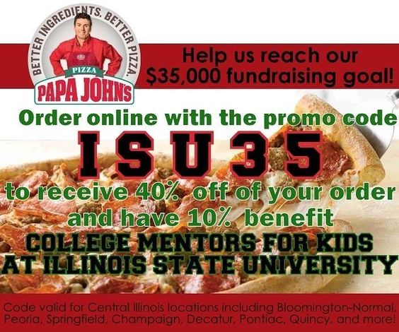 Treat yourself this #SuperbowlSunday and order delicious pizza while helping deserving little buddies get a mentoring experience at @IllinoisStateU!  All you have to do is order your @PapaJohns online and use the promo code ISU35. #pizza #promocode #CollegeMentors #CollegeMentorsforKids #fundraiser by ilstu_cmfk