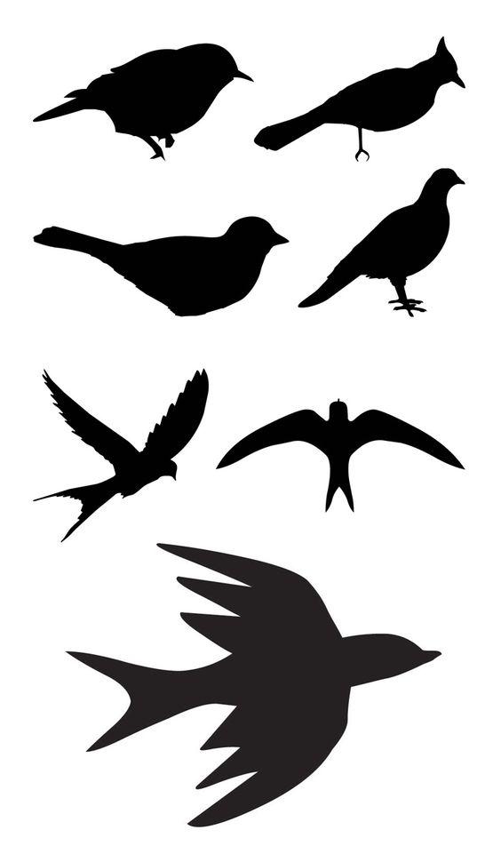 Oiseaux pochoir silhouette and silhouette d 39 oiseau on for Pochoir oiseau