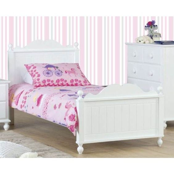 Kids Princess Wooden Single Bed Frame in White | Buy Kids Single Beds