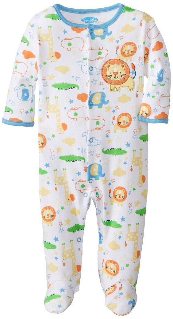 Amazon.com: BON BEBE Baby-Boys Newborn Zoo Animals Footed Snap Front Coverall: Clothing