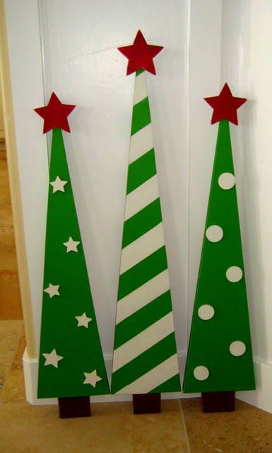 SALE  Wooden Christmas Trees Decoration