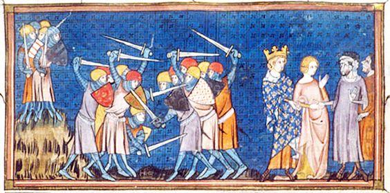 CHARLES III LE SIMPLE: En échange, le dux ROLLON assure le roi de sa fidélité, qui implique une assistance militaire en vue de la protection du royaume. Rollon avoue ensuite sa bonne amitié, assise sur une alliance chrétienne et matrimoniale, Rollon devant se faire baptiser et épouser GISELE, une fille de Charles issue d'une liaison ancillaire et illégitime.
