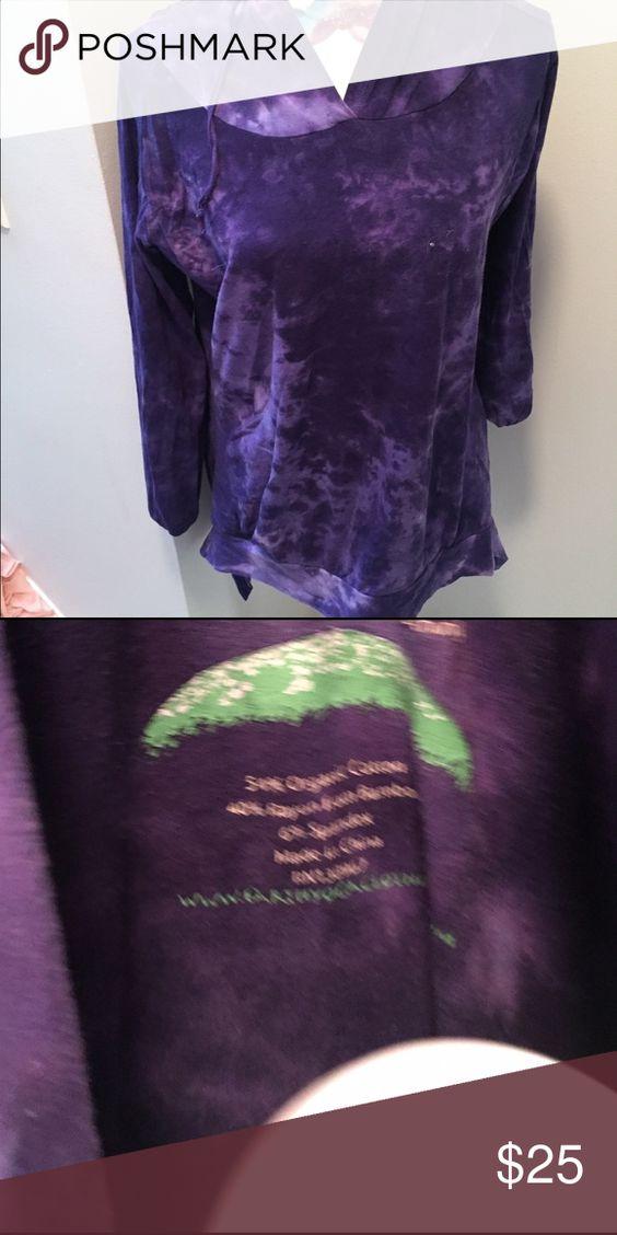 Earth Yoga Organic Purple Hoodie. Hand made Hoodie soft purple cotton/ spandex blend Tops Tees - Long Sleeve