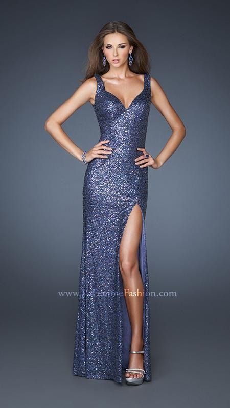 { La Femme 18851 | La Femme Fashion } La Femme Prom Dresses - Sequined - deep V - High Slit - Pageant - Elegant - Form Fitting