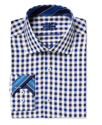 Michelsons of London Men's Slim-Fit Check-Pattern Dress Shirt