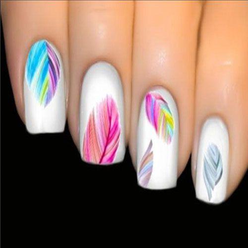 Stickers Vernis Nail Art Ongles Plumes Multicolores Boho Transfert beaute-beauty.com #nail #ongles