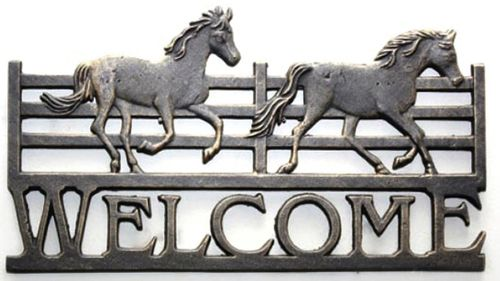 Mustang Horse Metal Welcome Sign