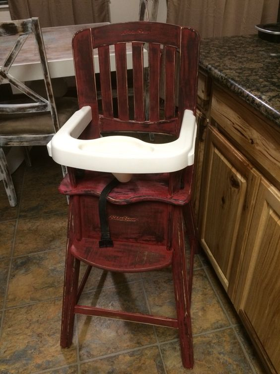 Repainted and distressed Eddie Bauer high chair.