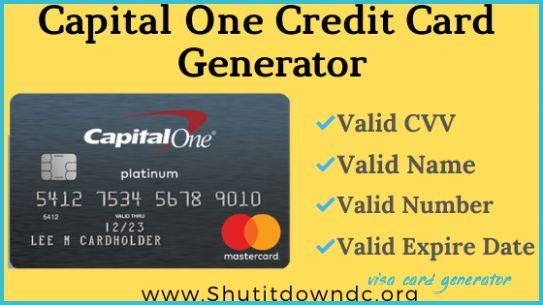Capital One Credit Card Numbers Generator - Valid CVV Details