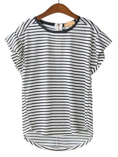 Black White Striped Short Sleeve Loose T-Shirt