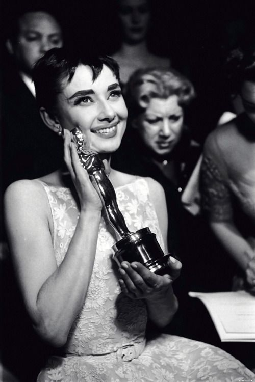 """When Audrey's name was announced as the Oscar winner for Best Actress, she was absolutely overwhelmed.  Academy trustee Jean Hersholt presented her with the Oscar, then Audrey gave a brief, gracious speech, which began with the words, ""It's too much."" - Excerpt from The Audrey Hepburn Treasures."