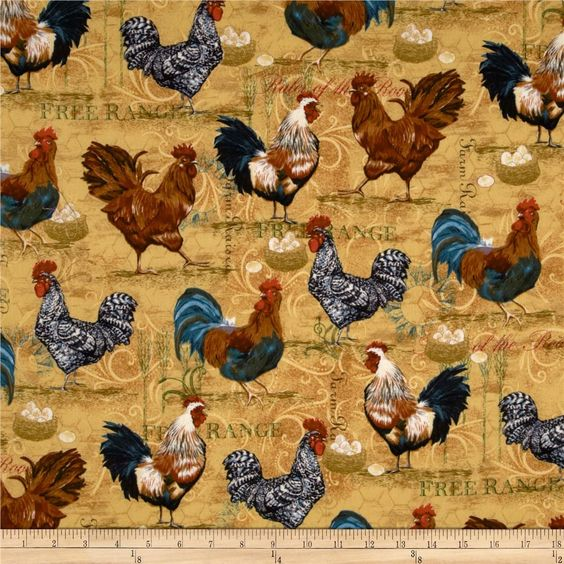 Rooster Collage Straw from @fabricdotcom  Designed for Robert Kaufman, this cotton print fabric is perfect for quilting, apparel, crafts, and home decor items. Colors include gold, white, cream, tan, black, and blue.: