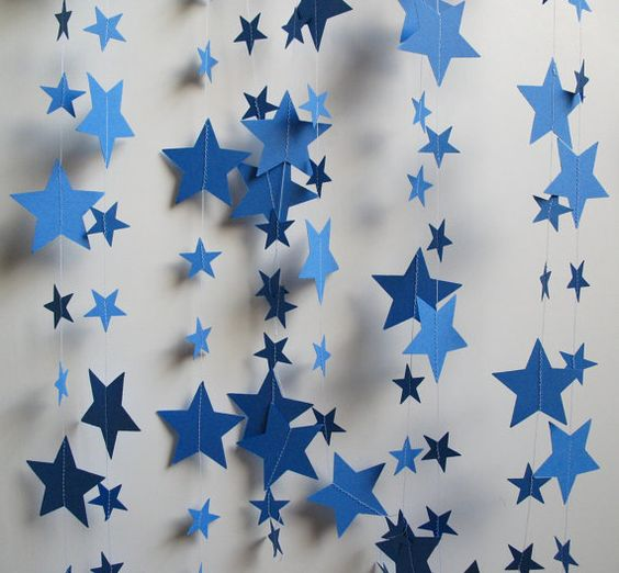 Starry Night Blue Garland 14 Feet Long by polkadotshop on Etsy, $14.50: