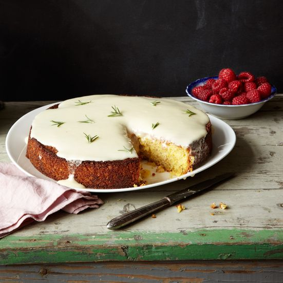 Beautiful, elegant Almond Cake With Lemon and Crème Fraîche Glaze from Food & Wine.