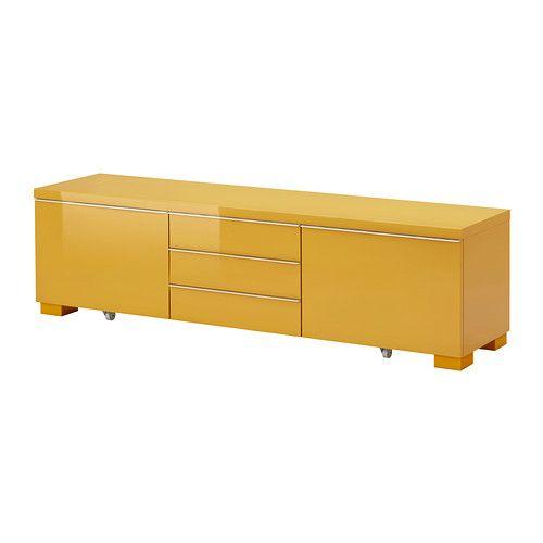 BESTÅ BURS Mobile TV - lucido giallo - IKEA
