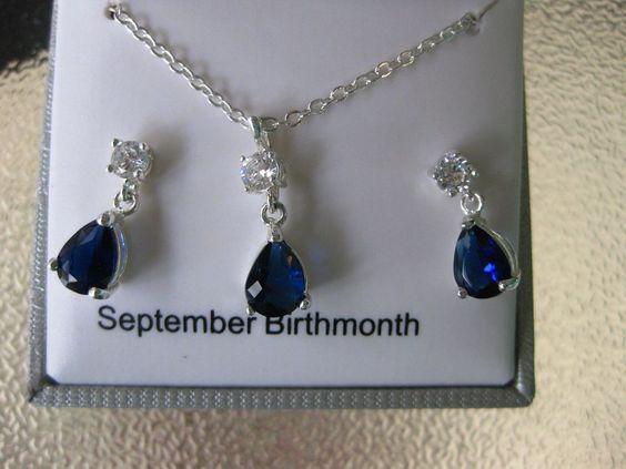 Silver Tone Simulated Blue Crystal Teardrop Pendant & Drop Earring Set Boxed