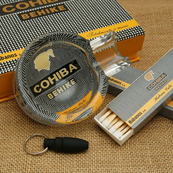 COHIBA Behike cigar glass ashtray with cigar punch and matches #eBayCollection #FollowItFindIt