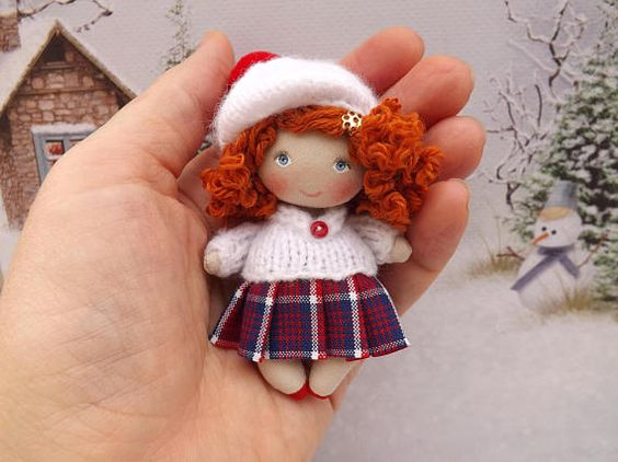 Miniature cloth art OOAK collectible dollhouse doll small