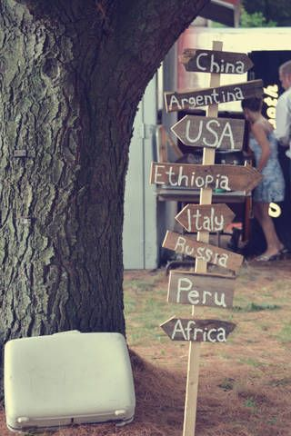 Vintage Travel sign I made for the wedding reception.    Anne, we had one of these for ours except it was different theme!