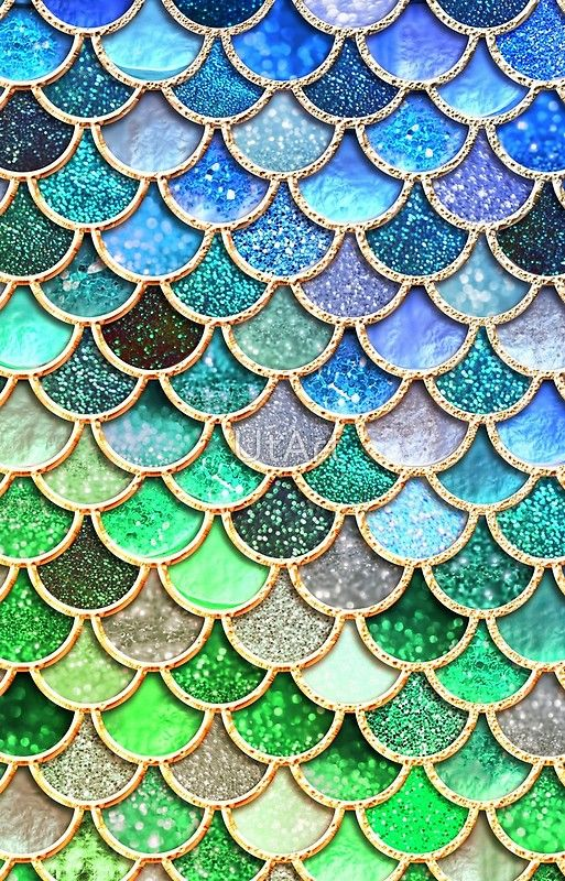 Green And Blue Sparkle Faux Glitter Mermaid Scales Iphone Case