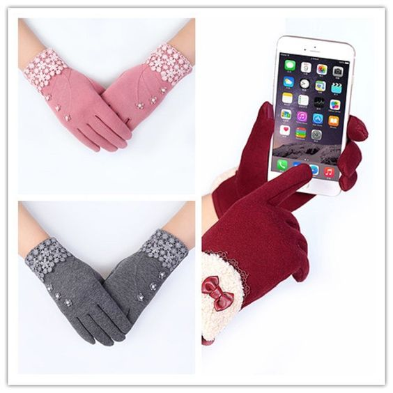 Touch Screen Gloves Women Winter Soft Warm Gloves Outdoor Driving Gloves est