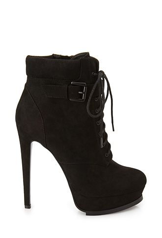 Suede Booties  Lace Up