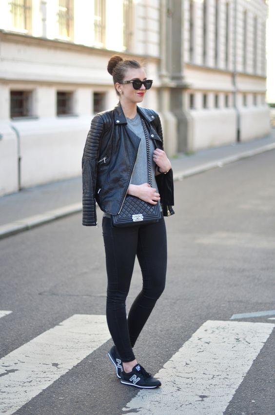 New Balance Sneakers, leather jacket, Chanel Boy bag: