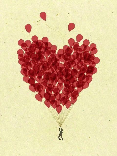 Ballons qui forment un coeur et soulèvent un homme
