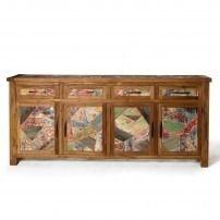 """Sideboard """"Sampan"""" mit 4 Türen, braun/multicolor, L 42 cm, B 200 cm, H 90 cm"""