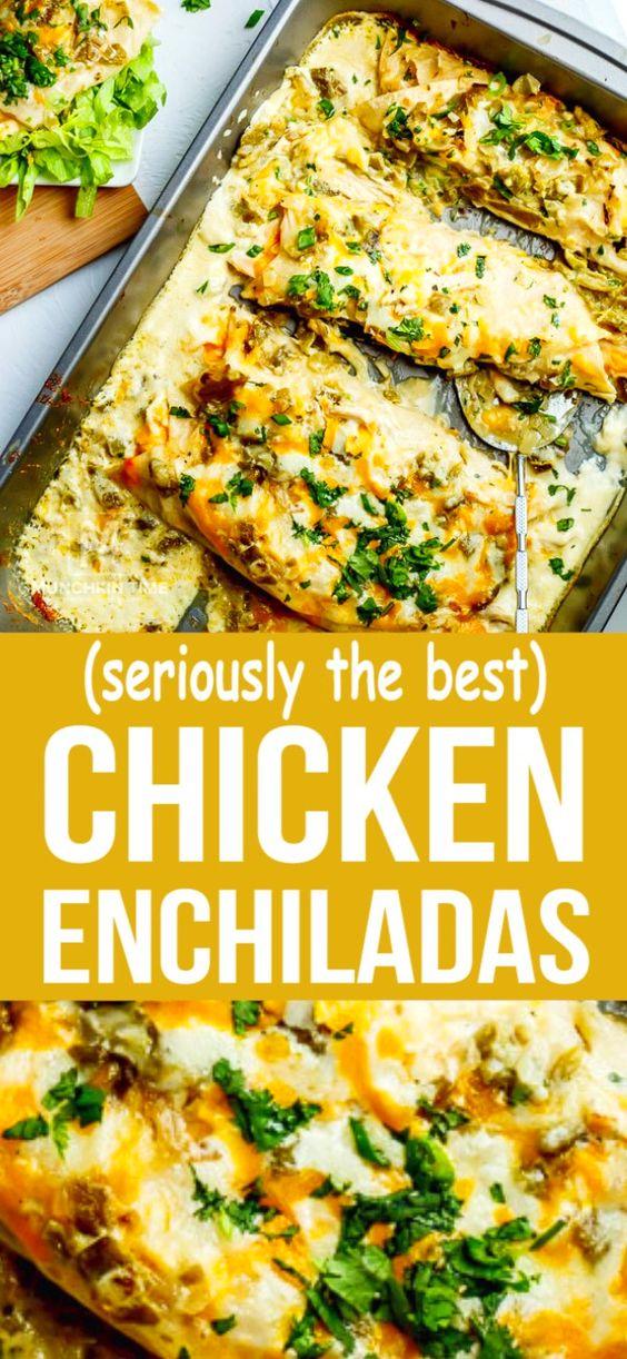 Creamy White Sauce Chicken Enchiladas