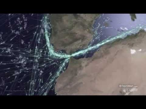 Global ship traffic seen from space - YouTube
