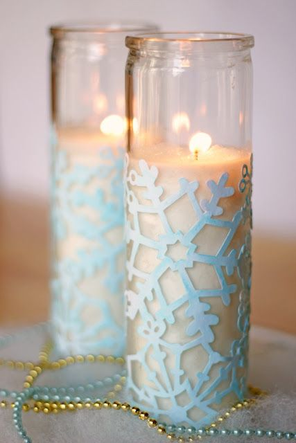 DIY:: Cute Winter Votives ~    Laser cut scrapbooking paper is a great supply to use to save some time  crafting. Since the paper used is a snowflake design, it came white, but I decided it was in need of a bit of color to showcase is beauty. I put this pretty snowflake craft together in about an hour.    How To @  http://modpodgerocksblog.com/2013/01/snowflake-craft-cute-winter-votives.html