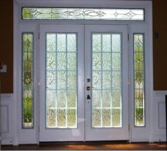 Double full view doors pattern resembles swirling tall for Double glass french doors