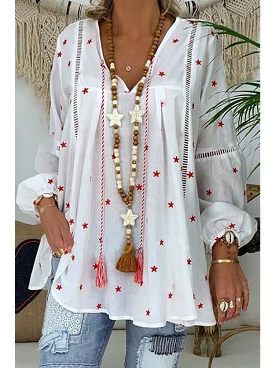 Shop Basics V Neck Printed Colour Hollow Out Shirt online with high quality and hurry to get fashion on charmwish.com quickly.