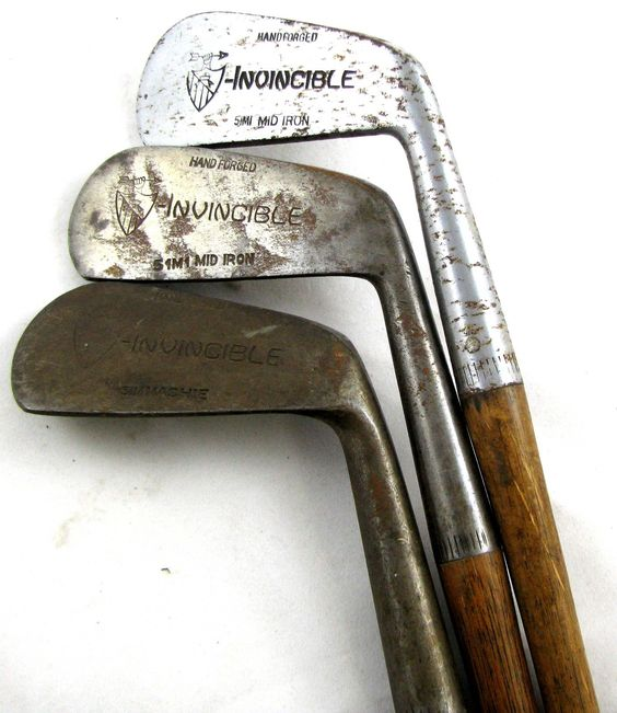 INVINCIBLE vintage 51M1 Mid Iron 51M Mashie GOLF CLUBS Hickory Shaft