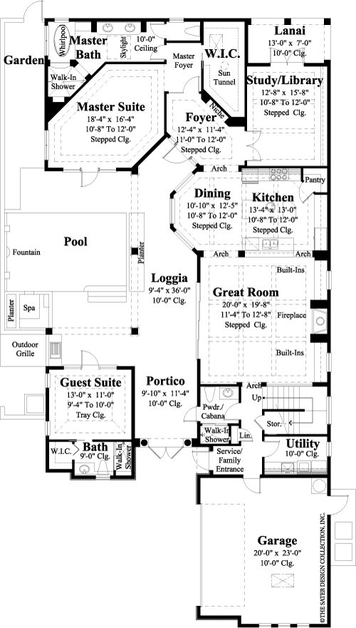 The Feretti House Plans First Floor Plan - House Plans by Designs