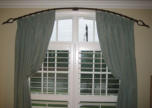 shades on top and blinds below for 3 panel arched window - Google ...