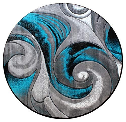 Masada Rugs Modern Woven Round Area Rug Turquoise Hand Carved 5