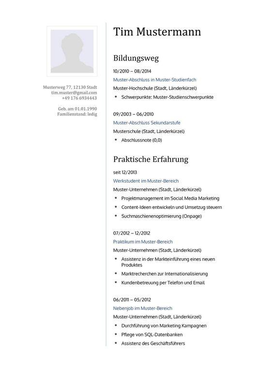 Lebenslauf Muster Vorlage 16 Lehrer 1 | Bewerbung | Pinterest