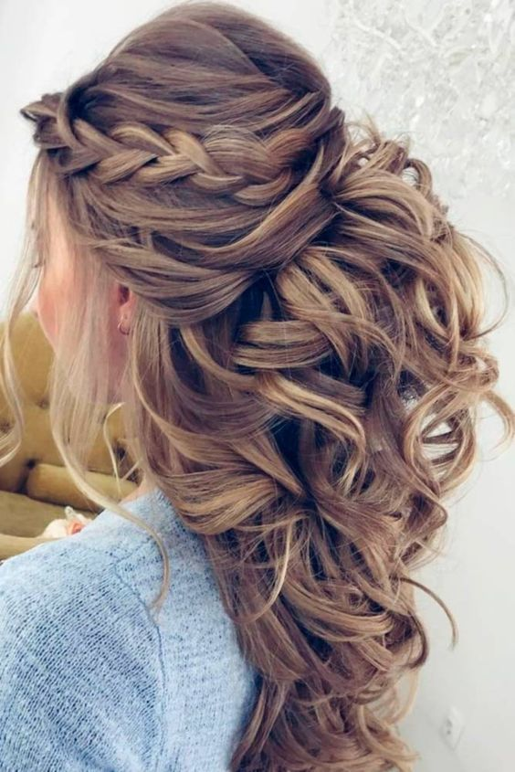 Romantic Braided Hairstyle For A Wedding Curly Prom Hair Prom Hairstyles For Long Hair Hair Styles