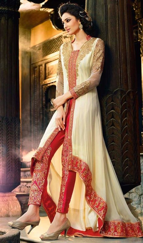 Look simply stunning in this cream georgette embroidered pant