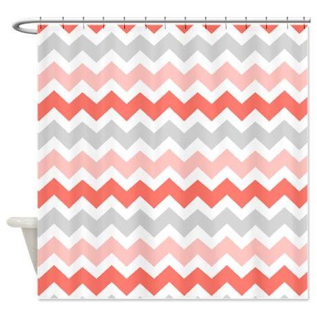Curtains Ideas chevron stripe shower curtain : Coral Grey White Chevron Stripes Shower Curtain   Grey white ...