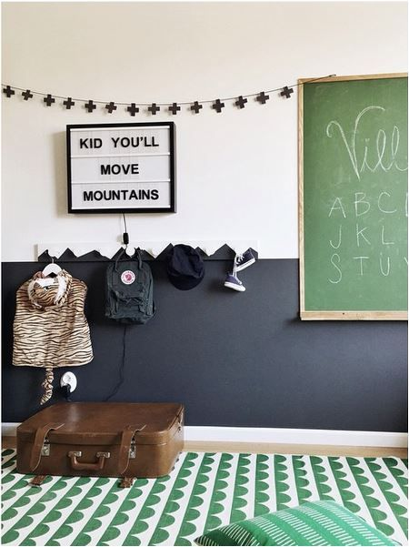 Love the floor and the green chalkboard: