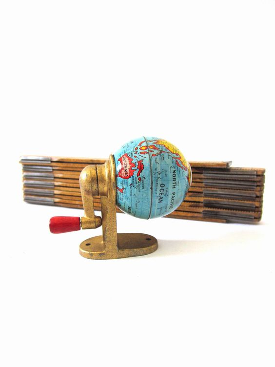 Vintage World Globe Retro Tin Lith 50's Pencil Sharpener: Globes Maps, Globes Map Arts, Pencil Sharpener, Globes And Maps, Globe Maps, Maps Globes Projects, Vintage Globes