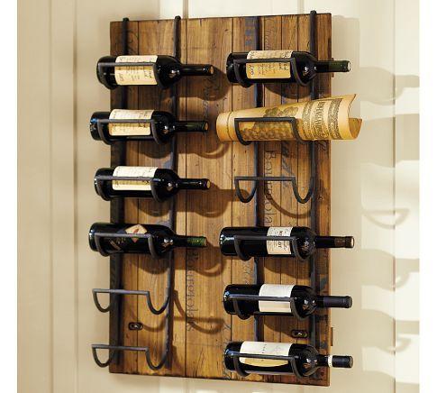 Bordeaux wall mount wine rack for Pottery barn wine rack wood